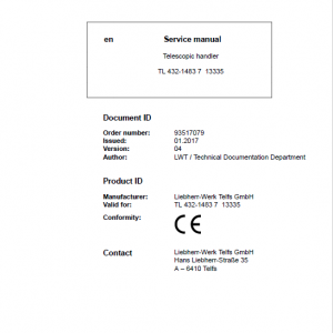Liebherr TL432 Type 1483 Telescopic Handler Service Manual