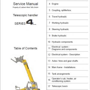 Liebherr TL435-10, TL435-13, TL442-13, TL445-10 Telescopic Handler Service Manual