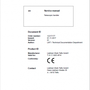 Liebherr T41-7 Telescopic Handler Service Manual
