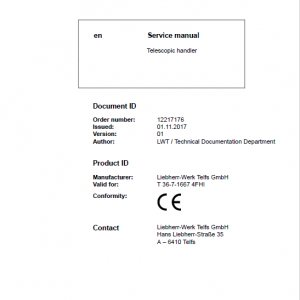 Liebherr T36-7 Telescopic Handler Service Manual