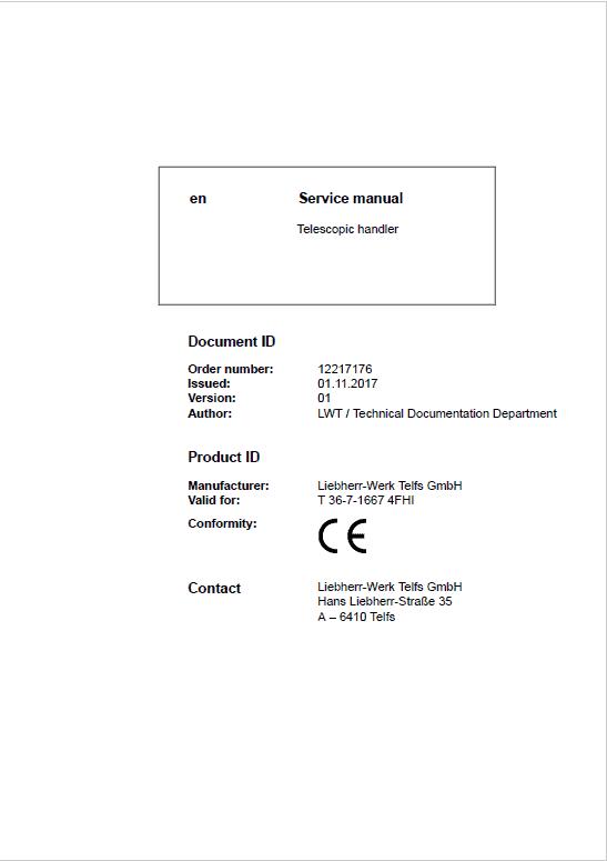 Liebherr T36-7 Telescopic Handler Service Manual