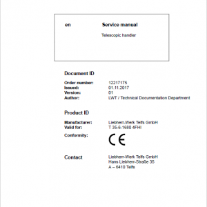 Liebherr T35-6 Telescopic Handler Service Manual
