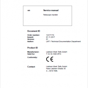 Liebherr T33-10 Telescopic Handler Service Manual