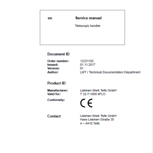 Liebherr T32-7 Telescopic Handler Service Manual