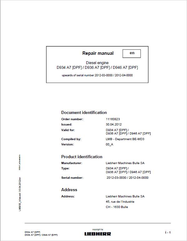 Liebherr D934 A7 DFP, D936 A7 DPF, D946 A7 DPF Engine Service Manual