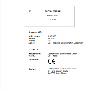 Liebherr L514 Type 1265 Wheel Loader Service Manual