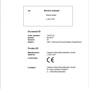 Liebherr L528 Type 1267 Wheel Loader Service Manual