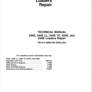 John Deere 544E, 544E LL, 544E TC, 624E, 644E Loader Service Manual
