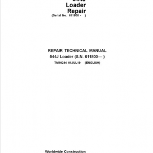 John Deere 544J Loader Service Manual (SN. after 611800)