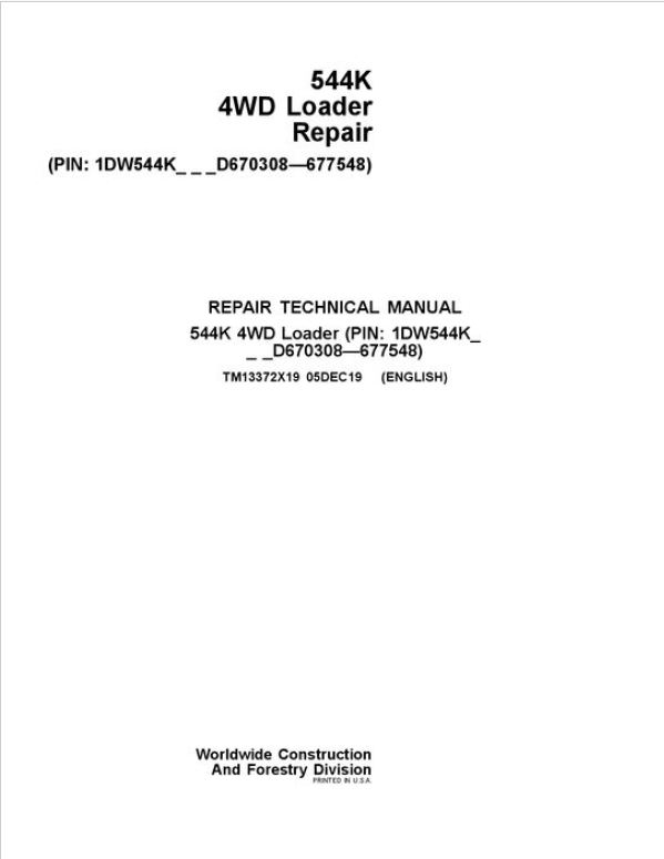 John Deere 544K 4WD Loader Service Manual (SN. D670308 - D677548)