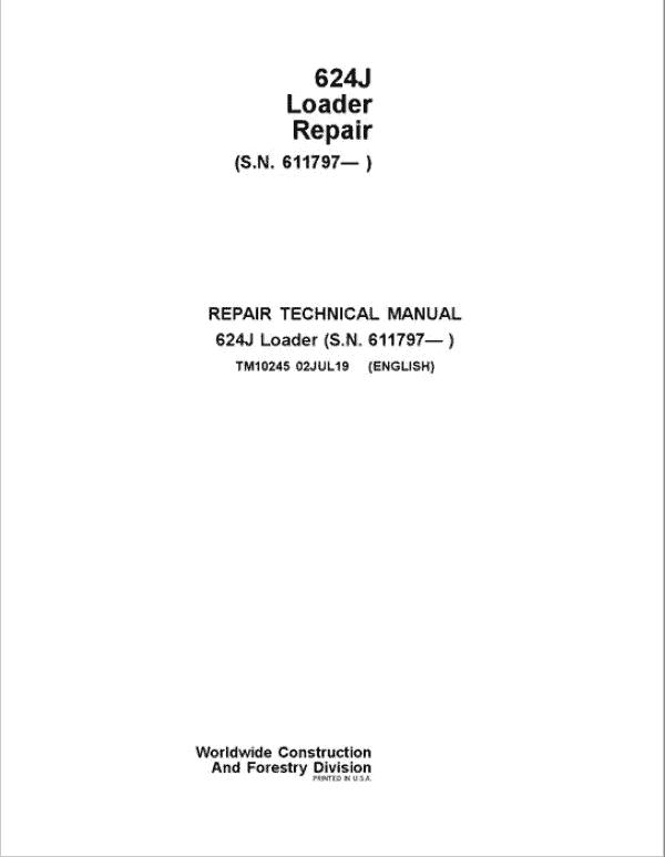 John Deere 624J Loader Service Manual (SN. after 611797)