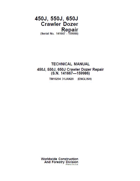 John Deere 450J, 550J, 650J Crawler Dozer Service Manual (SN. from 141667-159986)