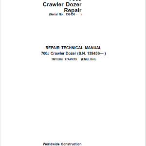 John Deere 700J Crawler Dozer Service Manual (SN. from 139436)