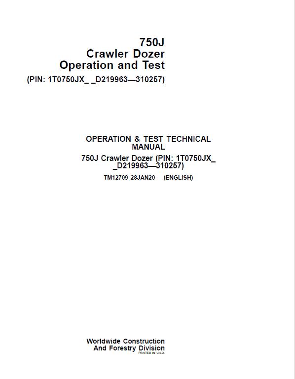 John Deere 750J Crawler Dozer Service Manual (SN. from D219963-D310257)