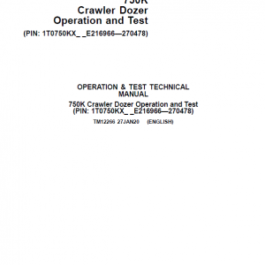 John Deere 750K Crawler Dozer Service Manual (SN. from E216966 - E270478)