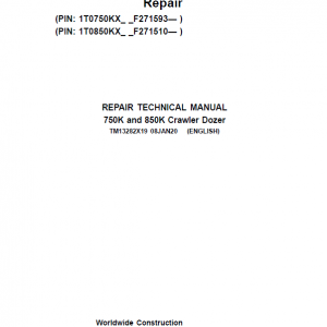 John Deere 750K, 850K Crawler Dozer Service Manual (SN. from F271510)