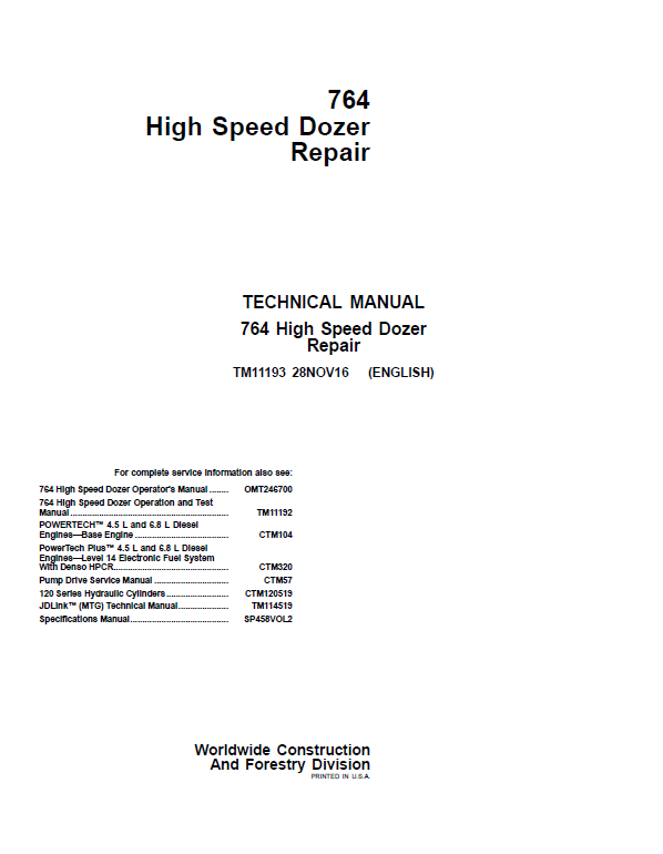 John Deere 764 High Speed Dozer Repair Service Manual