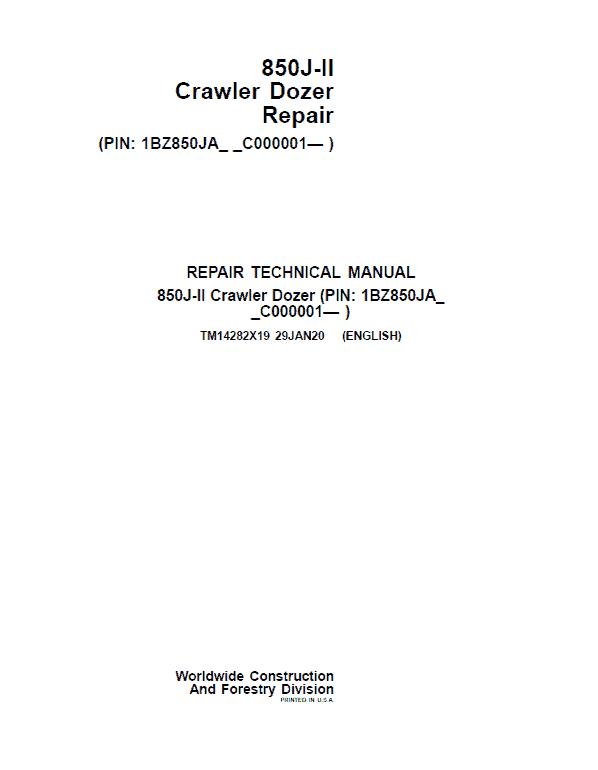John Deere 850J-II Crawler Dozer Service Manual (SN. from C000001)
