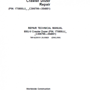 John Deere 850J-II Crawler Dozer Service Manual (SN. from C306799 - C354851)