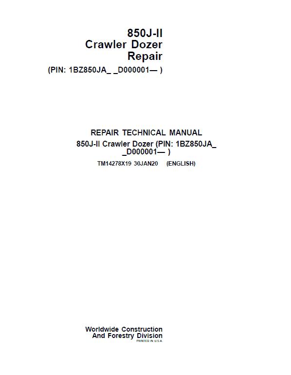 John Deere 850J-II Crawler Dozer Service Manual (SN. from D000001)