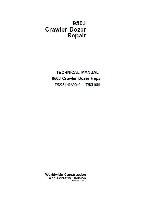 John Deere 950J Crawler Dozer Service Manual (TM2363 & TM2364)