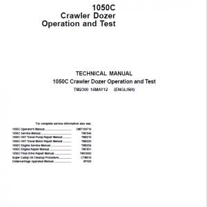 John Deere 1050C Crawler Dozer Service Manual (TM2300, TM2210, TM2225)