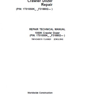 John Deere 1050K Crawler Dozer Service Manual (SN. F318802-)