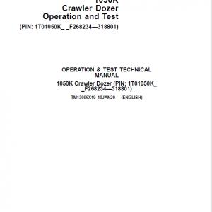 John Deere 1050K Crawler Dozer Service Manual (SN. from F268234 - F318801)