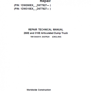 John Deere 260E and 310E Articulated Dump Truck Service Manual (SN. from D677827)