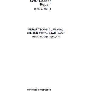 John Deere 304J 4WD Loader Service Manual (SN. from 23372)