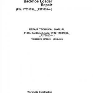 John Deere 310S Backhoe Loader Service Manual (SN. F273920-)