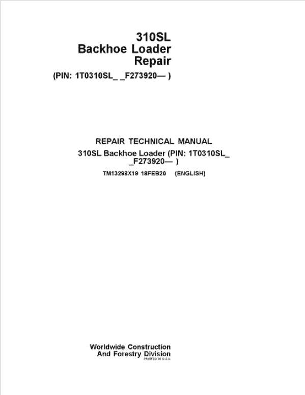 John Deere 310S Backhoe Loader Service Manual (SN. F273920-)