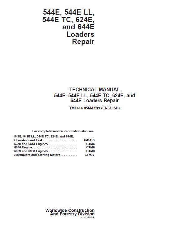 John Deere 544E, 544E LL, 544E TC, 624E, 644E Loader Service Manual