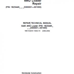 John Deere 544K 4WD Loader Service Manual (SN. D000001 - D001000)