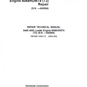 John Deere 544K 4WD Loader with Engine 6068HDW74 T3 Service Manual (SN. - 642664)