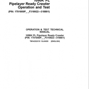 John Deere 1050K Pipelayer Crawler Dozer Service Manual (SN. F310922-F318801)