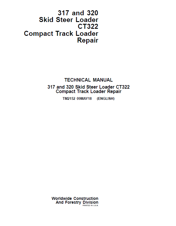 John Deere CT322 Compact Loader Repair Service Manual