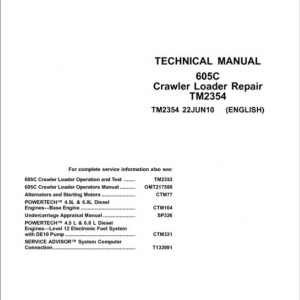 John Deere 605C Crawler Loader Service Manual (TM2353 & TM2354)