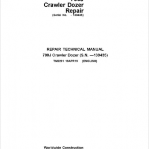 John Deere 700J Crawler Dozer Service Manual (SN before 139435)