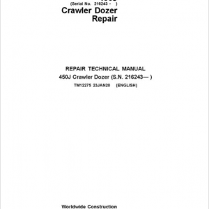 John Deere 450J Crawler Dozer Service Manual (SN. from 216243)