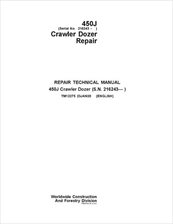 John Deere 450J Crawler Dozer Service Manual (SN. from 216243)