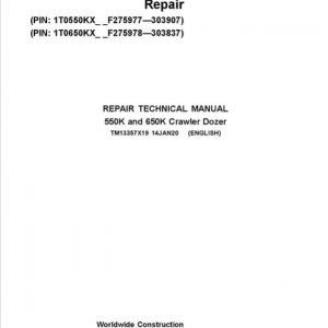 John Deere 550K, 650K Crawler Dozer Service Manual (SN. from F275977-F303907)
