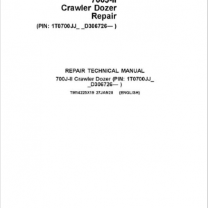 John Deere 700J-II Crawler Dozer Service Manual (SN. from D306726)