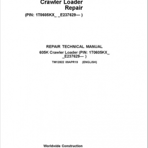 John Deere 605K Crawler Dozer Service Manual (SN. from E237629)