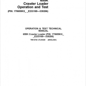 John Deere 655K Crawler Dozer Service Manual (SN. from E233169-E339206)