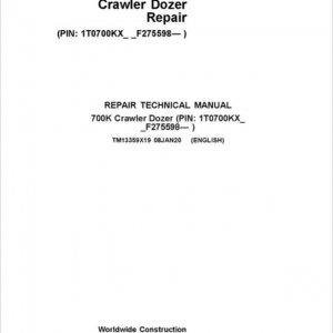 John Deere 700K Crawler Dozer Service Manual (SN. from F275598)