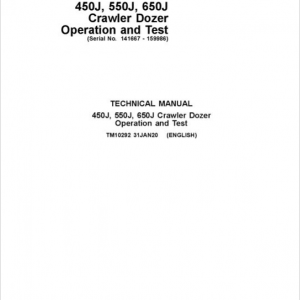 John Deere 450J, 550J, 650J Crawler Dozer Service Manual (SN. from 141667-159986)