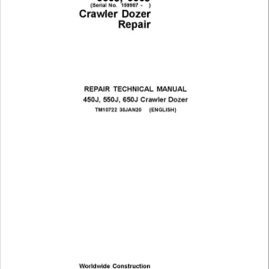 John Deere 450J, 550J, 650J Crawler Dozer Service Manual (SN. from 159987 -216242)
