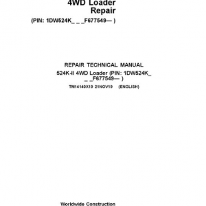 John Deere 524K-II 4WD Loader Service Manual (SN. from F677549)