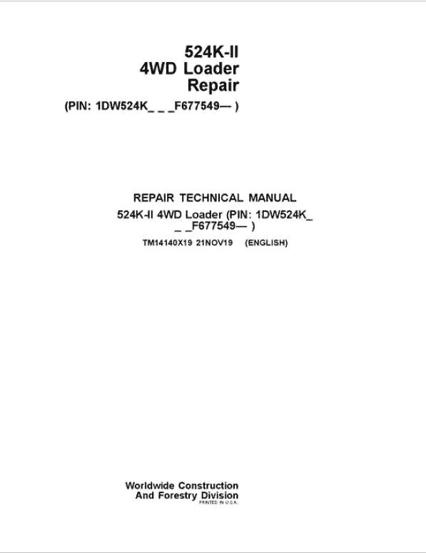 John Deere 524K-II 4WD Loader Service Manual (SN. from F677549)